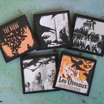 The Birds coasters - set of 5 wooden coasters - halloween decor, Hitchcock, horror movie, movie poster, Tippi Hedren, geekery, Spooky shades