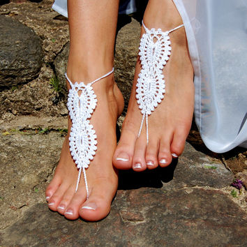 Crochet Barefoot Sandals, Beach Wedding Shoes, Wedding Accessories, Bridal shoes, Nude Shoes, Yoga socks, Foot Jewelry