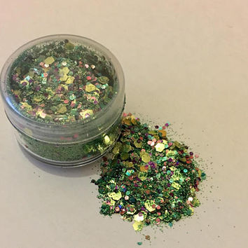 SPECIAL OFFER 5g Pots**Faerie Realm - Sparkle With Care Biodegradable Glitter - Green/Rainbow mix - Pixie Dust - Cosmetic Glitter