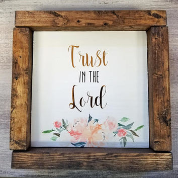 Christian Wall Art, Trust in the Lord, Proverbs 3:5, Christian Signs, Christian Verse Art, Verse Wall Art, Christian Wall Decor