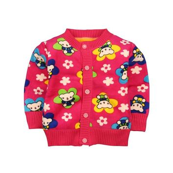 Casual Baby Boys Girls Clothes Cartoon Warm Sweaters Coat Kids Toddler Cardigan O-neck Thick Outerwear 0-2 Y