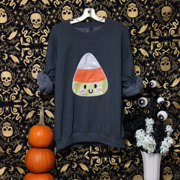Holographic Kawaii Candy Corn Halloween Special Edition Oversized Sweatshirt