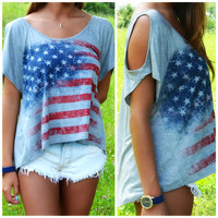 SZ SMALL American Glory Flag Off Shoulder Top