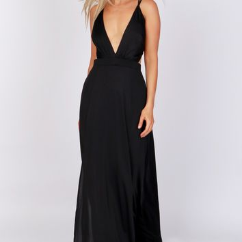 Lace-Up Back Maxi Dress Black