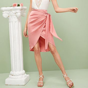 Wrap Knot Draped Satin Skirts Womens Solid Pink Asymmetrical Mid Waist Skirt Glamorous Women Sheath Midi Skirts