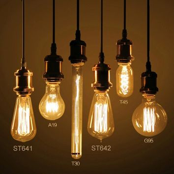 Vintage Lamp Edison Bulb Chandelier Lighting G125 ST64 E27 220V For Decor 40W Filament Bulb Pendant Lights Antique Bulb