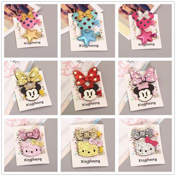 2018 Hello Kitty Minnie Mouse Ears Cute Hairpins Baby Girls Kids Hair Clips Bows Accessories For Children Hair Barrette Hairclip