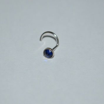 Silver 3mm Sapphire Tragus Stud / Ring - Earring - Nose Ring, helix/cartilage piercing 20g stud 20 gauge jewelry