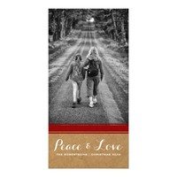 Peace & Love -Christmas Photo Paper Red Belt v3 Photo Card