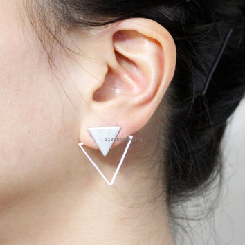 Triangles, Arrows Front and Back earrings, Triangle  Front and Back earrings in 2 colors, E0847S