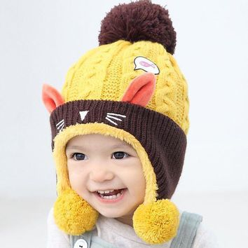 Cute Baby Winter Hat  Warm Infant Beanie Cap For Children Boys Girls Animal Cat Ear Kids Crochet Knitted Hat