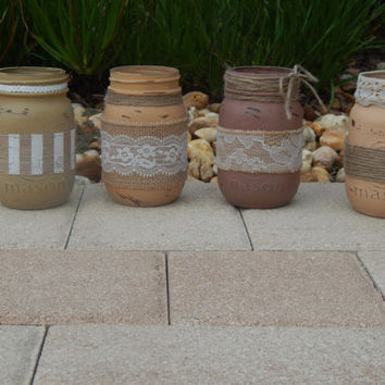 Burlap Lace Mason Jars Set of 4 Hand Painted Distressed – Rustic Home Décor- Tan, Beige, Brown