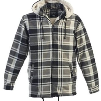Gioberti Mens Checkered Flannel Jacket with Sherpa Lining, Removable Hood