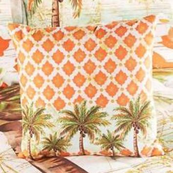 (1) Tropical Palm Tree Themed Decorative Pillow Moroccan Pattern Bedroom Decor