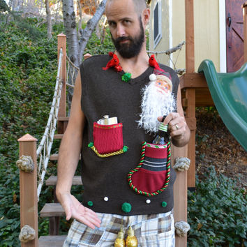 Beer or flask holder, Ugly Christmas Sweater vest, mens, redneck, Large, alcohol, flask holder, liquor holder stockings, novelty,