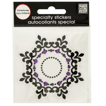 Black Icon Rhinestone Specialty Sticker: Case of 144