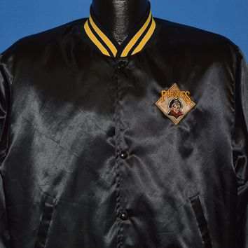 80s Pittsburgh Pirates Black Satin Baseball Jacket Medium