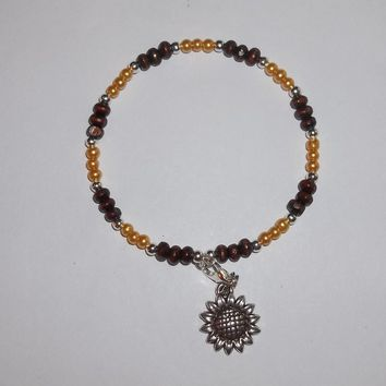 Sunflower Yellow Glass Pearl, Rosewood & Tibetan Silver beaded Charm Bangle Bracelet