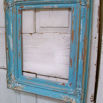 Shabby cottage blue distressed large wooden frame Anita Spero