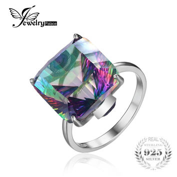 JewelryPala Square 13ct Fire Mystic Topaz Ring For Women Solid 925 Sterling Silver Jewelry Fashion Brand Fine Jewelry New