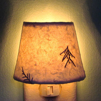 Night Light - White Paper Lamp Night Lights with Evergreen Needles - Natural Decor - Country Cottage Chic Winter Decor
