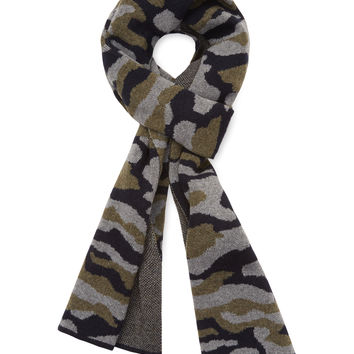 "Desanto Men's Camo Wool Scarf, 70"" x 10"" - Dark Blue/Navy"