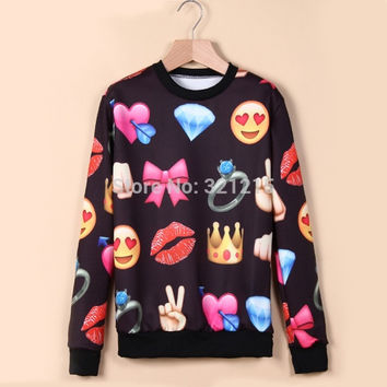 New style pullover women winter fashion Emoji sweater funny expression printed sweatshirt hoody cute cartoon tracksuit  LJ190QAF = 1931731268