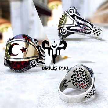 Red zirconia stone with tulip crescent star sterling silver ring