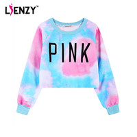 LIENZY Harajuku Rainbow Fleece Crop Tops Long Sleeve Letter Pink Women Sweatshirt For Sexy Spring Streetwear Women Short Tops