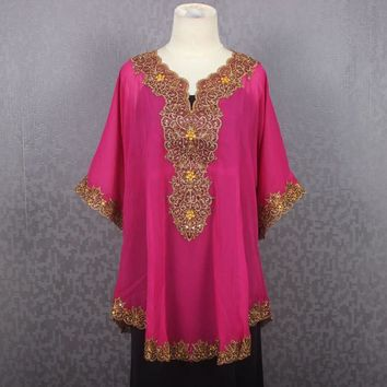 Dress Chiffon Embroidery Blouse Sarrah Kaftan Tops Pink Dress Caftan