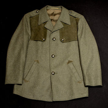 Vintage German Austrian Green Wool Loden Hunting Jacket Coat With Suede Accents