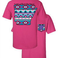 Southern Couture Arkansas Aztec State Pattern Faux Pocket Girlie Bright T Shirt