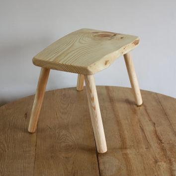 Small wooden stool - wood bench for kitchen or living room - Scandinavian design - pine furniture - small bench - wood bench