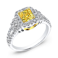 3.50 carats Yellow canary princess diamond engagement ring two tone gold 14K