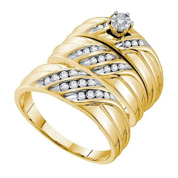 14kt Yellow Gold His & Hers Round Diamond Solitaire Matching Bridal Wedding Ring Band Set 3/8 Cttw - FREE Shipping (US/CAN)