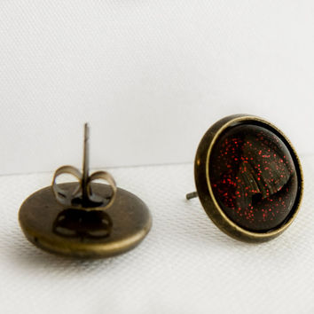 Vampiress Post Earrings in Antique Bronze - Red Glitter on top of Black Stud Earrings
