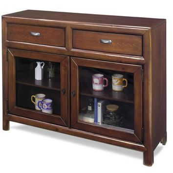 Shelby Casual / Rustic Curio Cabinet - Java Pine Java / Barn Red