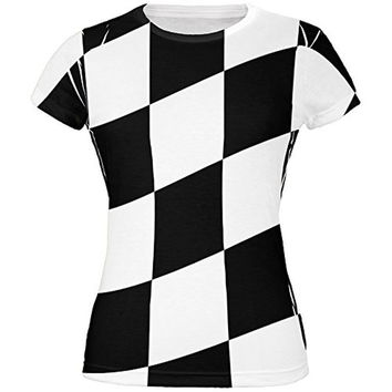 Finish Line Checkered Flag Wave All Over Juniors T-Shirt