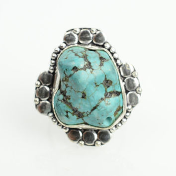 Turquoise Ring Native American Turquoise Sz 9 boho ring Navajo Ring Zuni Southwest Indian Silver Ring Jewelry Old Pawn Hopi Turquoise