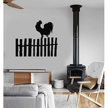 Vinyl Decal Rooster Bird Farm Village Fence Modern Decor Wall Sticker Unique Gift (ig990)