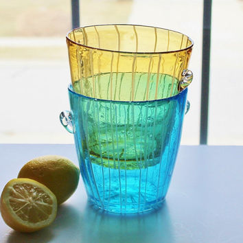 Pair of Murano Aqua and Yellow Glass Ice Buckets With White Striping / Hand Blown Venini for Disaronno / Mid Century Made in Italy
