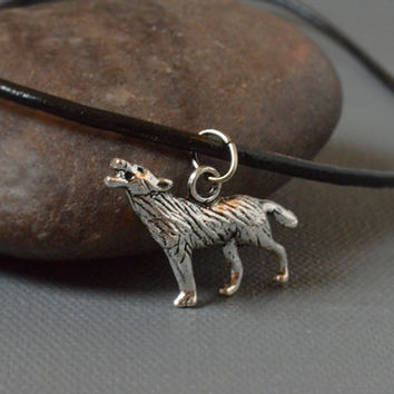 Antique Silver Wolf Charm Choker Necklace on Black Leather Cord