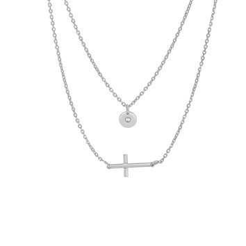 Silver Rhodium Finish Small Hanging Round Disc+Small Sideways Cross On 1.2mm Diamond Cut Double Strand Graduated Fancy Necklace with Lo