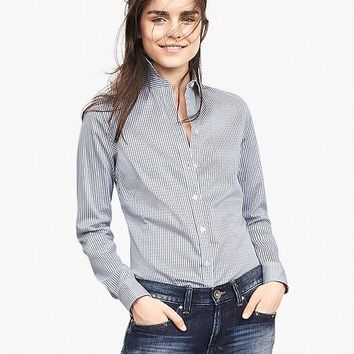 Banana Republic Womens Fitted Non Iron Linear Print Shirt