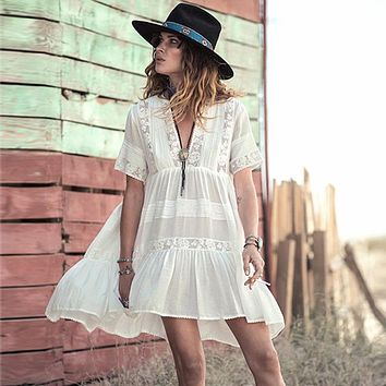 Casual Loose Fit Summer Dress women white cotton mini dresses Vneck embroidery Lace fashion bohemian style Hippie Boho