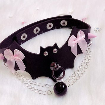 MADE TO ORDER- Black Faux Leather Bat Cute Simple Chain Collar