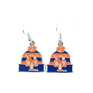New York Mets Beanie Hat Dangle Earrings