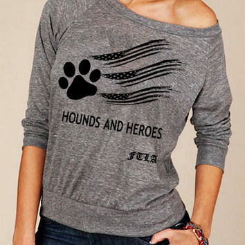 Hounds and Heroes Eco Jersey Off The Shoulder Pullover - Eco Grey