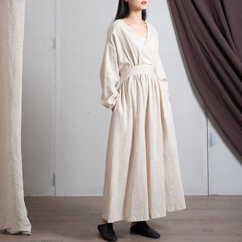 Spring Cotton Linen New V-neck Loose Solid Color Long Vintage Dress New 3 Colors Chinese Style Women Dresses