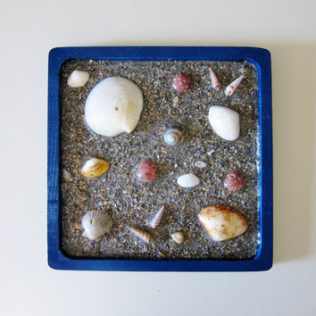 Seashells Wall Art Mini Beach Decor with real Sand and Sea Shells Mixed Media Original Artwork - Nature Inspired Decor - Blue Bathroom Art